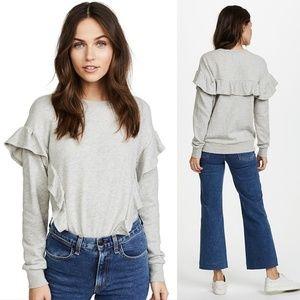 •JOIE• Agnia Ruffle Trim Gray Sweatshirt Sz M.